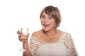 Mature Lady With Glass Stock Photography - 70469652