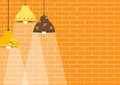 Group Of Ceiling Lamp On Orange Brick Wall Backgrounds Royalty Free Stock Photography - 70473787