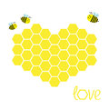 Yellow Honeycomb Set In Shape Of Heart. Beehive Element. Honey Icon. Love Greeting Card. Isolated. White Background. Flat Design. Royalty Free Stock Images - 70481949