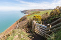 Wooden Gate Leading Onto The Cardigan Bay Coastal Path. Penbryn Royalty Free Stock Images - 70488289