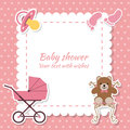 Baby Shower Girl, Invitation Card. Place For Text.  Greeting Car Royalty Free Stock Images - 70489059