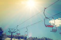 Sunset And  Ski Lift Going Over The Mountain Royalty Free Stock Photography - 70493217