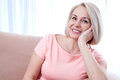 Active Beautiful Middle-aged Woman Smiling Friendly And Looking Into The Camera. Woman S Face Close Up. Stock Image - 70504641
