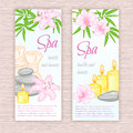 Vector Set Of Banners With Hand Drawn Spa And Massage Accessories - Stones, Flowers Royalty Free Stock Photo - 70514435
