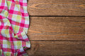 Napkin From Left Side Wooden Table Top View Stock Photos - 70529023