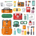 Survival Emergency Kit For Evacuation Vector Objects Set. Royalty Free Stock Images - 70532109