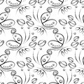 Seamless Floral Vector Pattern With Insect. Decorative Black And White Background With Butterflies, Roses And Decorative Elements Royalty Free Stock Photos - 70535728