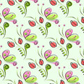 Seamless Vector Floral Pattern With Insect. Decorative Ornamental Background With Butterflies, Roses, Leaves And Decorative Elemen Royalty Free Stock Photography - 70535767
