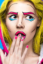 Photo Of Surprised Young Woman  With Professional Comic Pop Art Make-up And Design Manicure. Creative Beauty Style. Royalty Free Stock Photos - 70542238