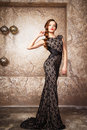 Portrait Of Beautiful Elegant Young Woman In Gorgeous Evening Dress Royalty Free Stock Photo - 70545735