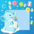 Cute Elephant With Milk Bottle. Welcome Baby Boy Card. Royalty Free Stock Image - 70547296