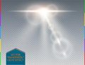 Vector White Skyline Lens Flare Transparent Special Light Effect. Abstract Blur Sun Glow Ray With Spotlight Stock Photo - 70573660