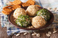 Useful Food: Cheese Balls With Crackers, Herbs And Seeds Close-u Royalty Free Stock Photo - 70595265