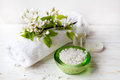 Spa Set With Sea Salt,  Flowers And Candles On Wicker Tray Stock Photo - 70596380