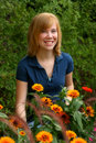 Redhead In Marigolds Royalty Free Stock Image - 7060226