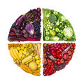 Circle Of Colorful Fruits And Vegetables Royalty Free Stock Images - 70603909