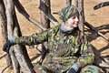 Teen Girl In Camouflage Clothes Stock Images - 70604704