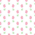 Pink Roses Pattern. Seamless Wallpaper Pink Roses With Leaves On White Background. Stock Images - 70629964