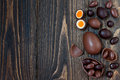 Chocolate Easter Eggs Over Rustic Wooden Background. Copy Space. Royalty Free Stock Photos - 70650978