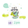 Baby Shower Or Arrival Card - Baby Racoon Royalty Free Stock Photography - 70656567