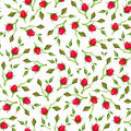Seamless Pattern With Red Rose Buds. Vector Illustration. Stock Image - 70661141