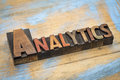 Analytics Word Abstract- Wood Type Banner Stock Photography - 70664662