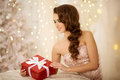 Christmans Party, Winter Holidays Woman With Gift Box. New Year Stock Photography - 70666412