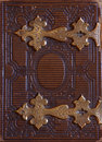 Top View Of Antique Book Cover, With Brass Clasps Royalty Free Stock Photography - 70667457