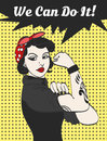 Vector Subculture Punk Gothic Woman With Signature We Can Do It Stock Photo - 70678210