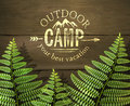 Outdoor Camp, Your Best Vacation  Sign With Green Fern Leafs On Wooden Background. Stock Photography - 70694322