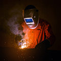 Industrial Worker With Safety Equipments And Protective Mask Royalty Free Stock Photography - 70694967