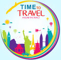 Full Vector Time To Travel Around The World Royalty Free Stock Image - 70695586