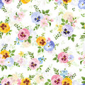 Seamless Pattern With Colorful Flowers. Vector Illustration. Royalty Free Stock Photo - 70712025