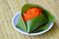 Sweet Sticky Rice With Shrimp Topping In Fresh Banana Leaf Royalty Free Stock Images - 70725899