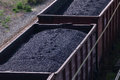 Close-up Railroad Tracks With Wagons With Coal Royalty Free Stock Image - 70729676