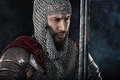 Medieval Warrior With Chain Mail Armour And Red Cloak Royalty Free Stock Image - 70731996