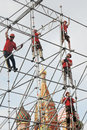 Workers Fix Holiday Decoration On The Red Square In Moscow. Stock Photos - 70741723