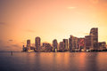 Miami Skyline Sunset Royalty Free Stock Photo - 70747325