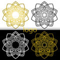 Vector Graphic Geometric Golden,white, Black Flower Symbol Royalty Free Stock Images - 70767279