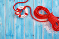 Rescue Rope With Life Preserver Over Blue Royalty Free Stock Photo - 70771765