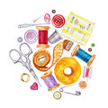 Various Watercolor Sewing Tools. Sewing Kit, Accessories Stock Images - 70772864