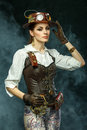 Portrait Of A Beautiful Steampunk Girl Stock Images - 70777914