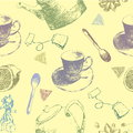 Vintage Tea Porcelain. Seamless Pattern.Vector Illustration.background With Cups And Teapots Stock Photography - 70785412
