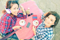 Top View Of Hipster Girlfriends Taking Selfie At Cappuccino Bar Stock Photos - 70788563