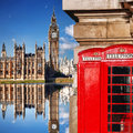 London Symbols With BIG BEN And Red PHONE BOOTHS In England Stock Photography - 70789282