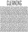 Hand Drawn Cleaning Tools Seamless Pattern Royalty Free Stock Image - 70792836