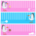Stork With Baby Boy & Girl Banners Set Royalty Free Stock Photos - 70793618