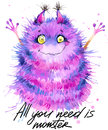 Cute Monster Watercolor Illustration. Fluffy Monster. Cartoon Cute Monster. Royalty Free Stock Photography - 70793637
