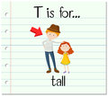 Flashcard Letter T Is For Tall Stock Image - 70820771