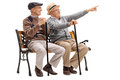 Cheerful Senior Showing Something To A Friend Royalty Free Stock Images - 70824749